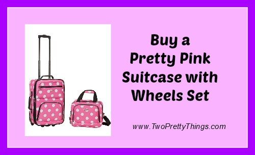 Pink Suitcase with Wheels Set