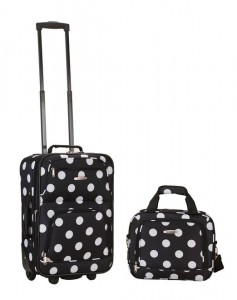 Rockland Suitcase with Wheels - Black with White Dots