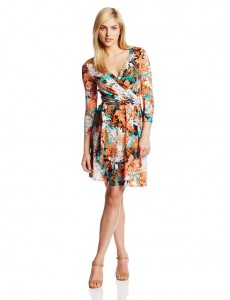 Wrap Dresses for Petite Women - Ann Klein Floral Wrap Dress